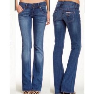 HUDSON GOOD COND LONG STRETCH FLARE LEG BLUE JEANS